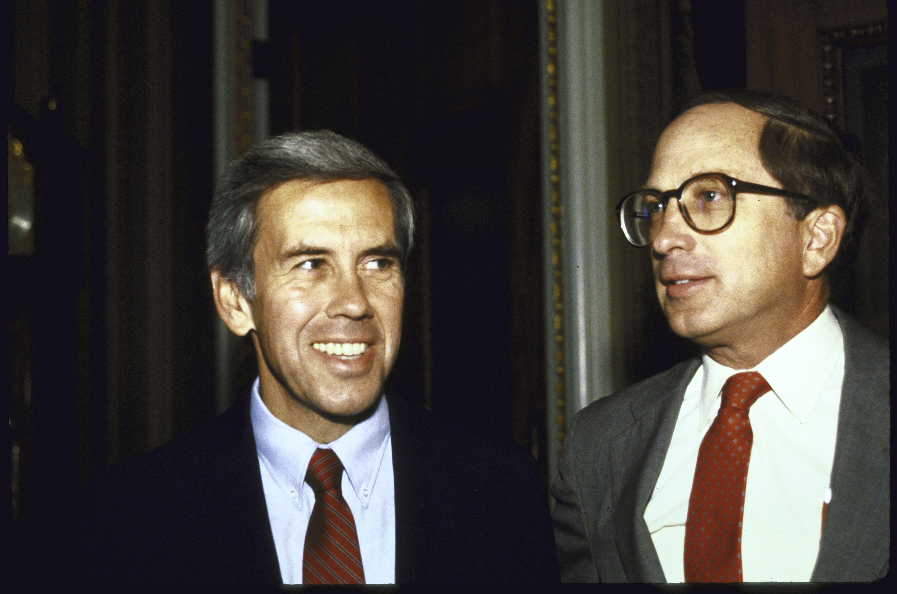 Richard Lugar, left, and Sam Nunn, worked collaboratively on legislation when they served in the U.S. Senate.