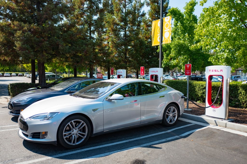 A Tesla Supercharger charging station in Mountain View, Calif. (Smith Collection/Gado/Getty Images)