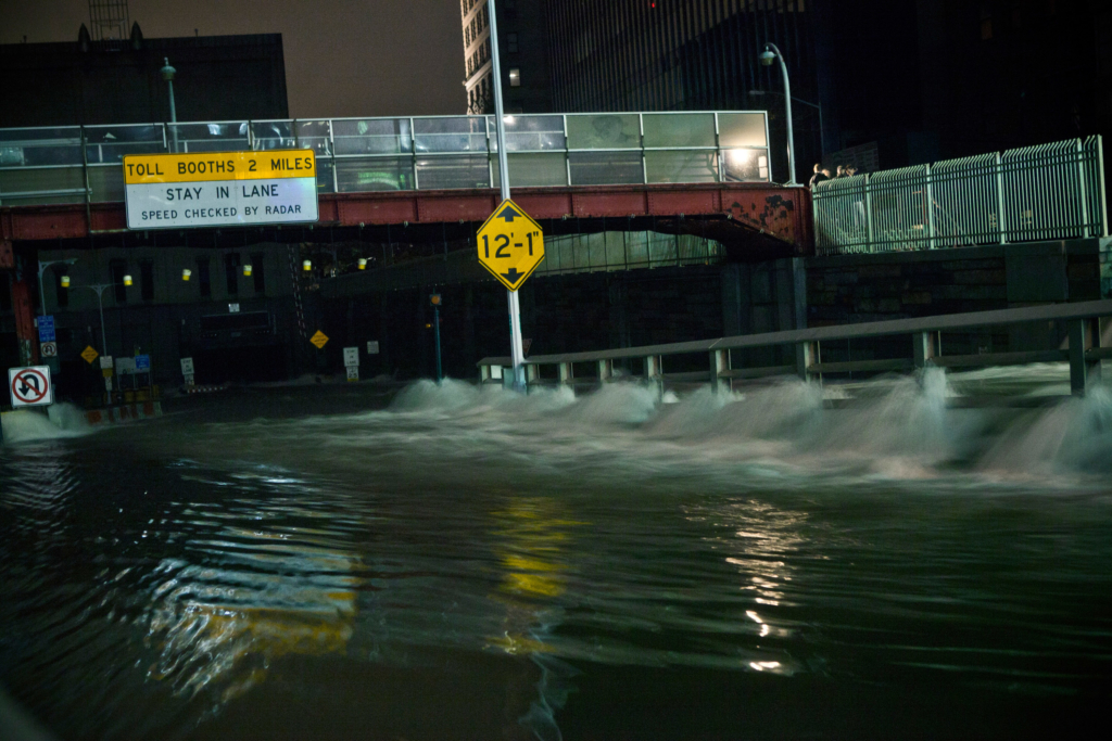 Water rushes into the Carey Tunnel as Hurricane Sandy hit New York City on October 29, 2012. (Andrew Burton/Getty Images)